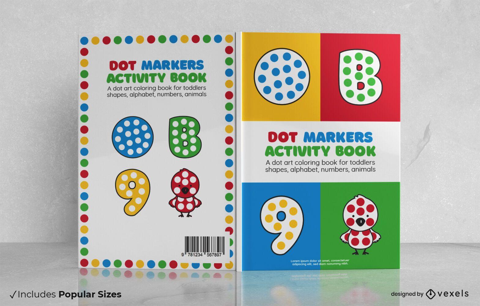 Projeto da capa do livro de atividades com marcadores de pontos