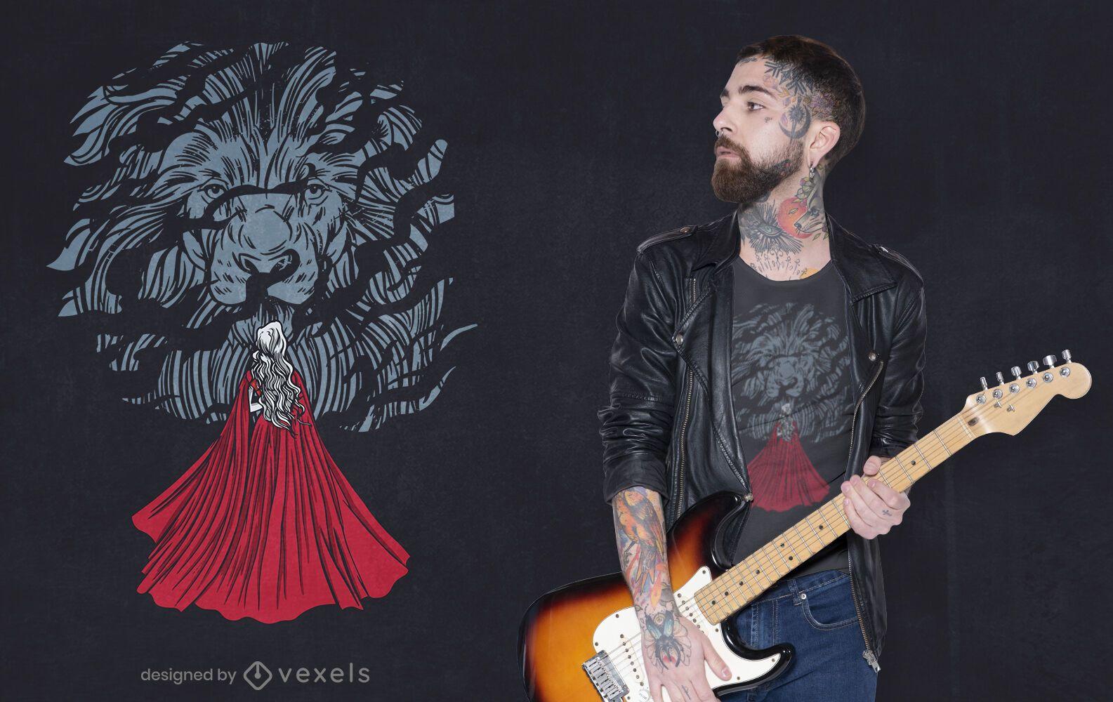 Lion with rose t-shirt design