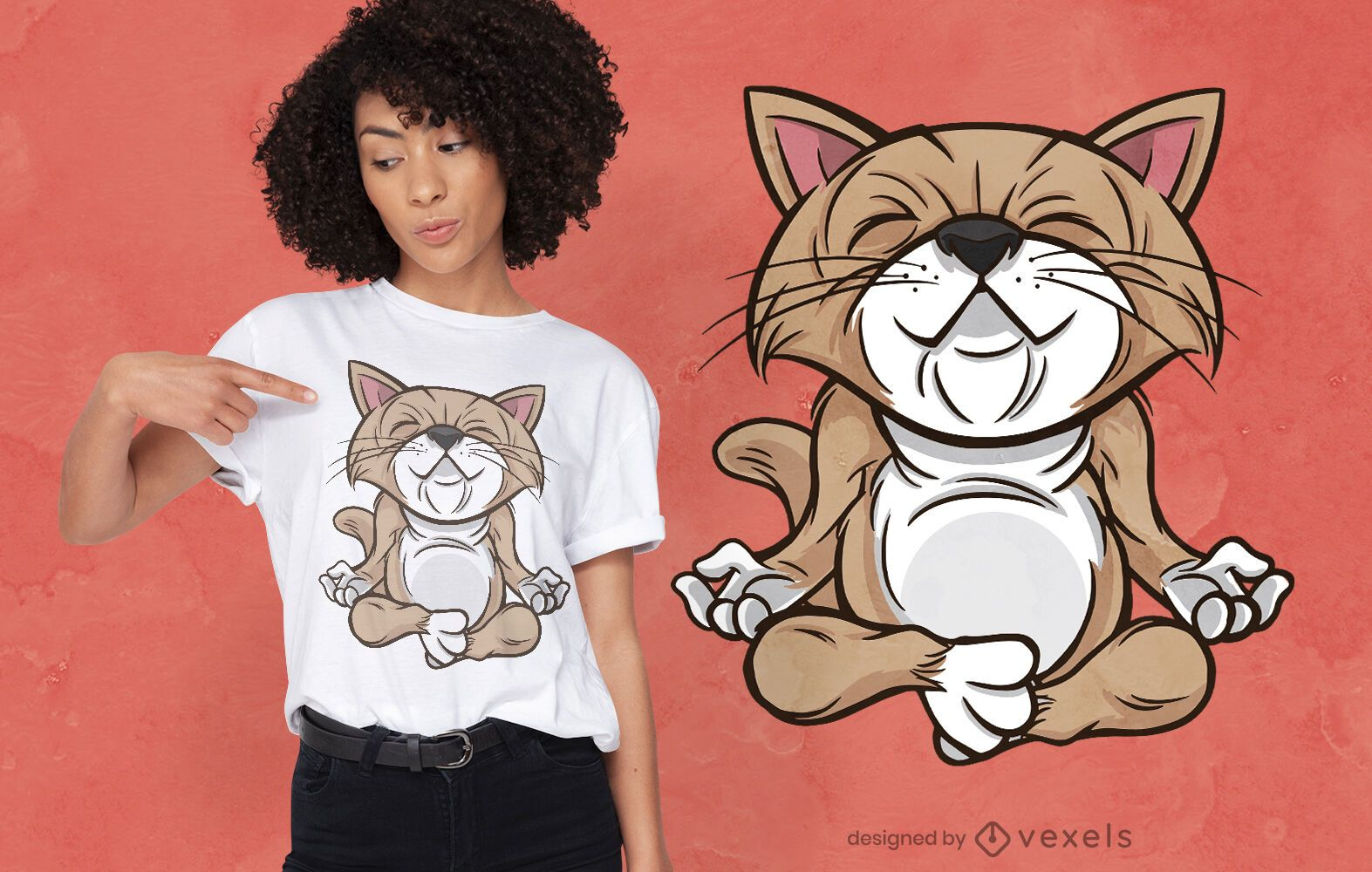 Design de t-shirt de gato para ioga