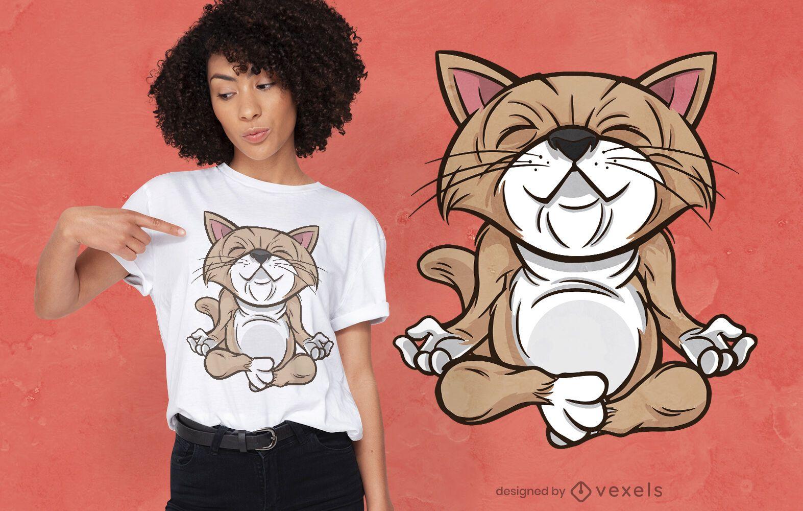 Diseño de camiseta de gato de yoga