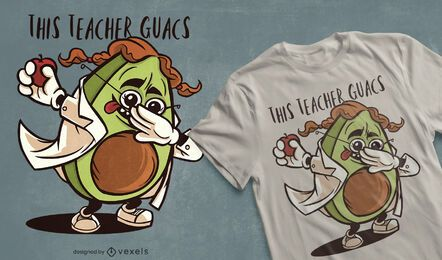 Dabbing avocado teacher diseño de camiseta