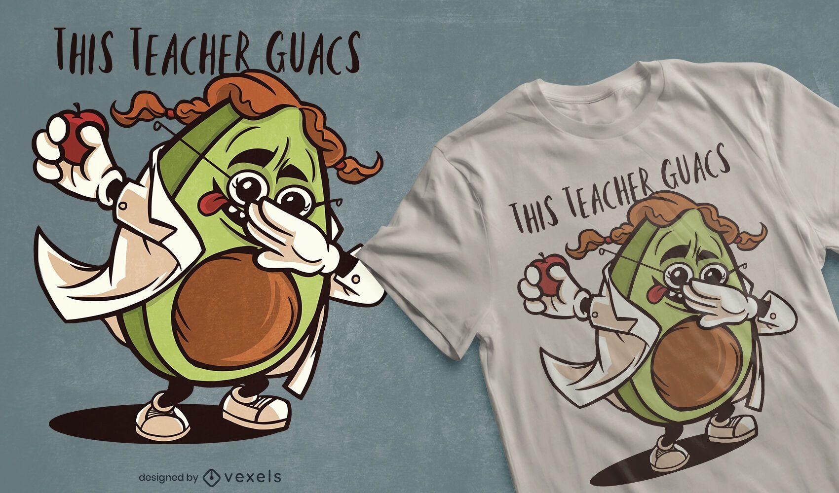 Dabbing avocado teacher diseño de camiseta