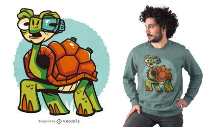 Diseño de camiseta de tortuga cyborg