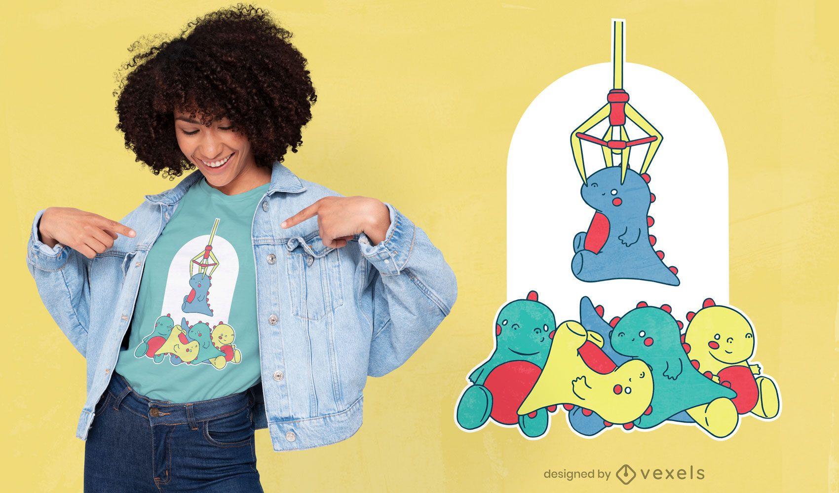 Dinosaur claw machine t-shirt design