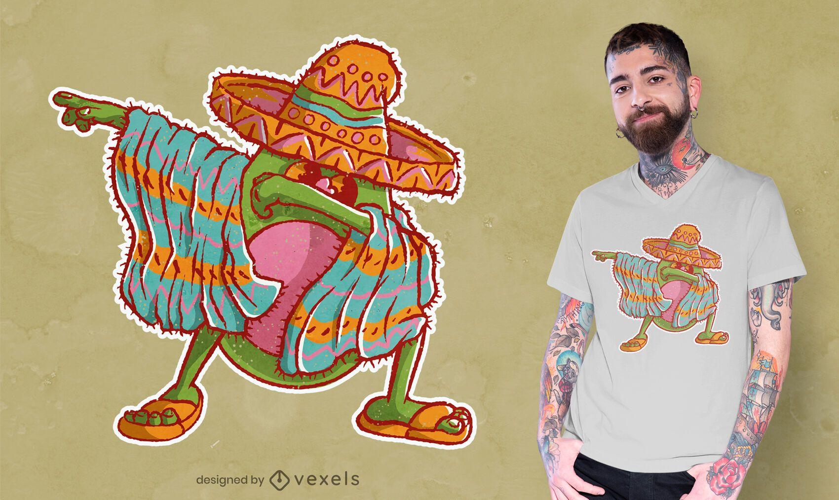 Diseño de camiseta de dabbing de aguacate Mariachi.
