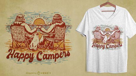Design de camisetas desenhadas à mão para camping