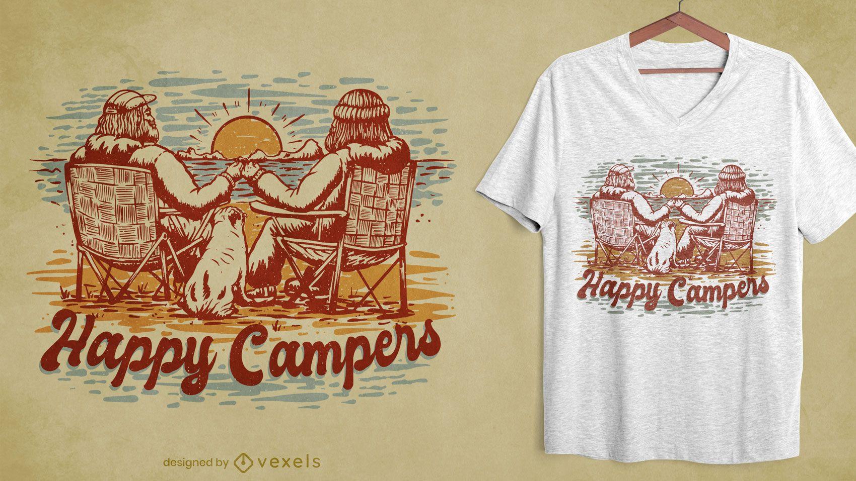 Diseño de camiseta dibujada a mano de camping.