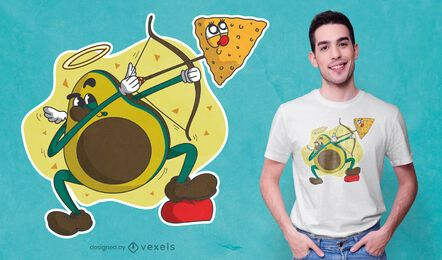 Avocado cupid cartoon t-shirt design