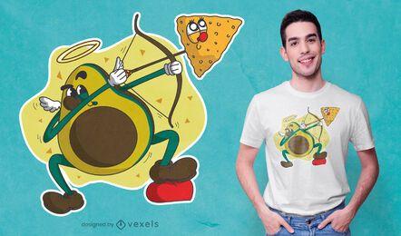 Design de camiseta de desenho animado de abacate Cupido