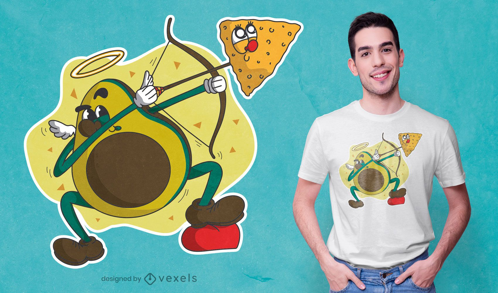 Diseño de camiseta de dibujos animados de cupido de aguacate