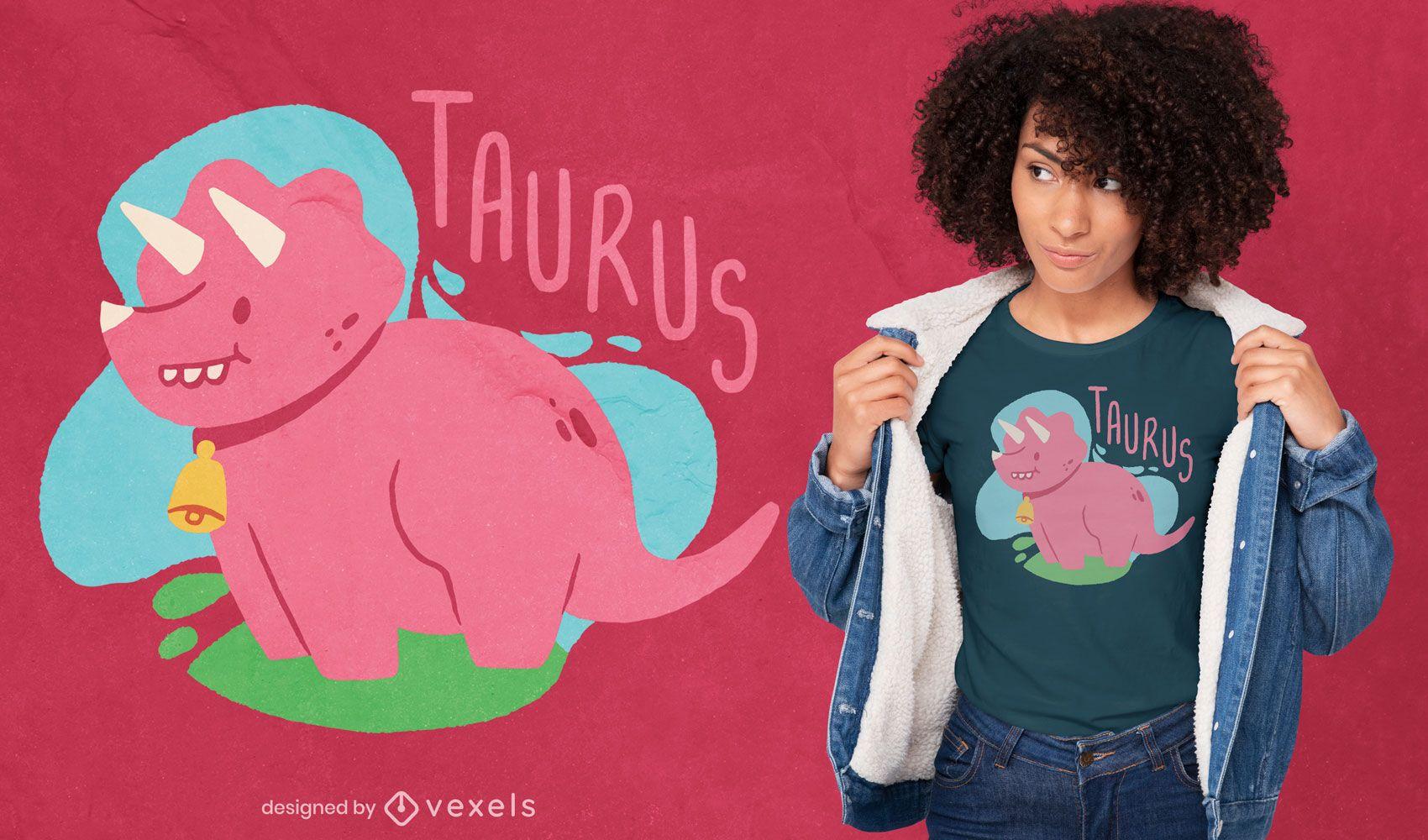 Diseño de camiseta de dinosaurio Tauro