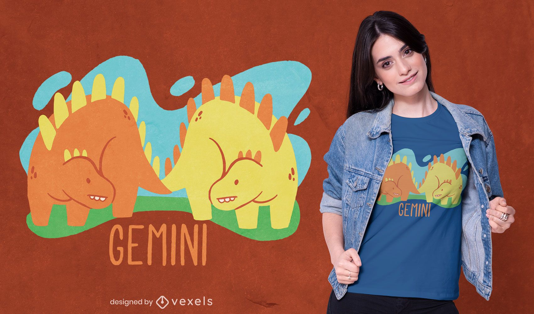 Diseño de camiseta de dinosaurio Géminis