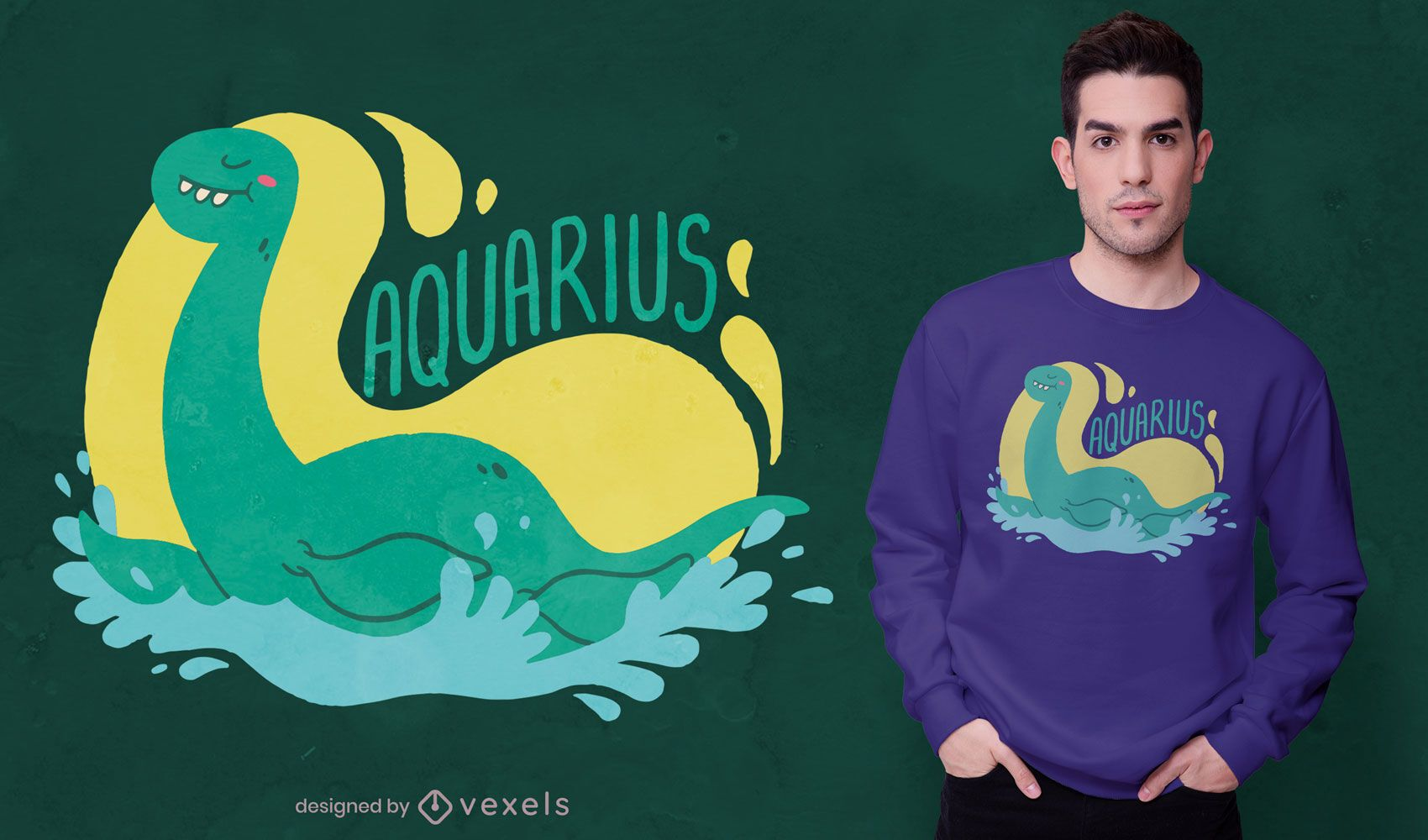 Diseño de camiseta de dinosaurio acuario