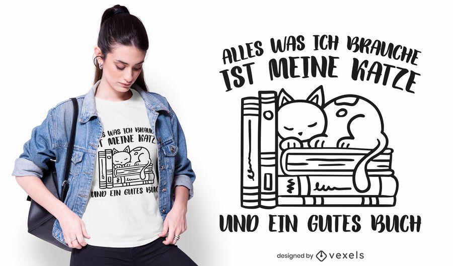 Diseño de camiseta de cita alemana de libros y gatos.