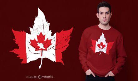 Design de t-shirt com bandeira em folha de bordo do Canadá