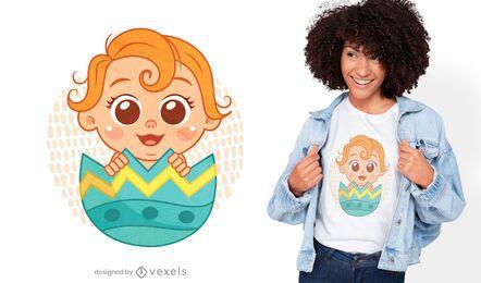 Bebê dentro do ovo da Páscoa com design de camiseta