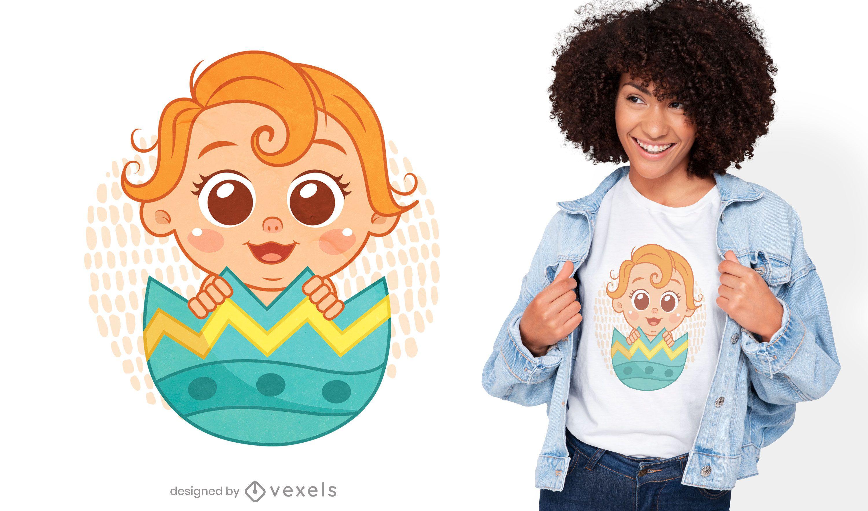 Bebé dentro del diseño de camiseta de huevo de Pascua