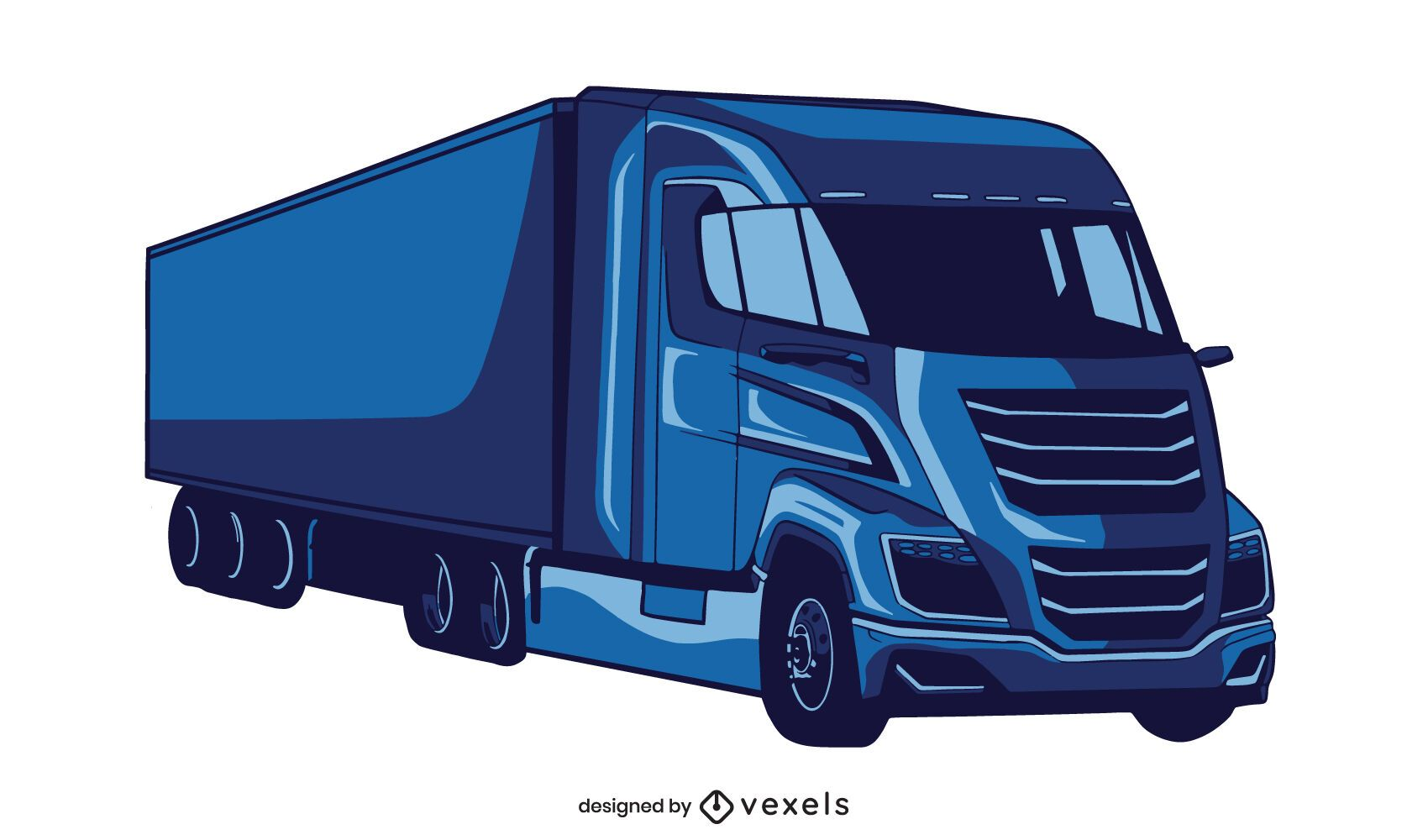 Blue heavy truck illustration