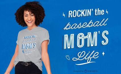 Diseño de camiseta de cita de mamá de béisbol