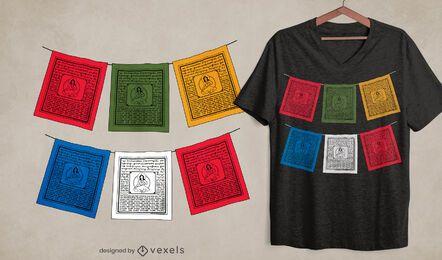 Tibetan prayer flags t-shirt design