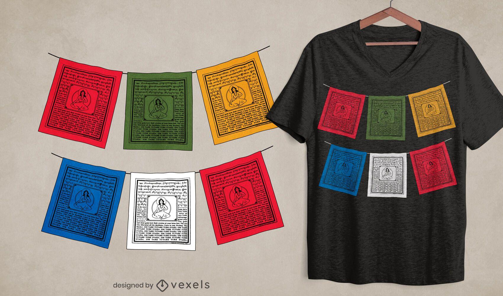 Diseño de camiseta de banderas de oración tibetanas.