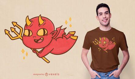 Desenho de t-shirt de desenho animado do diabo bebê