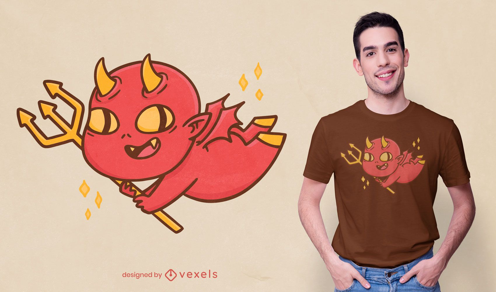 Diseño de camiseta de dibujos animados de diablo bebé