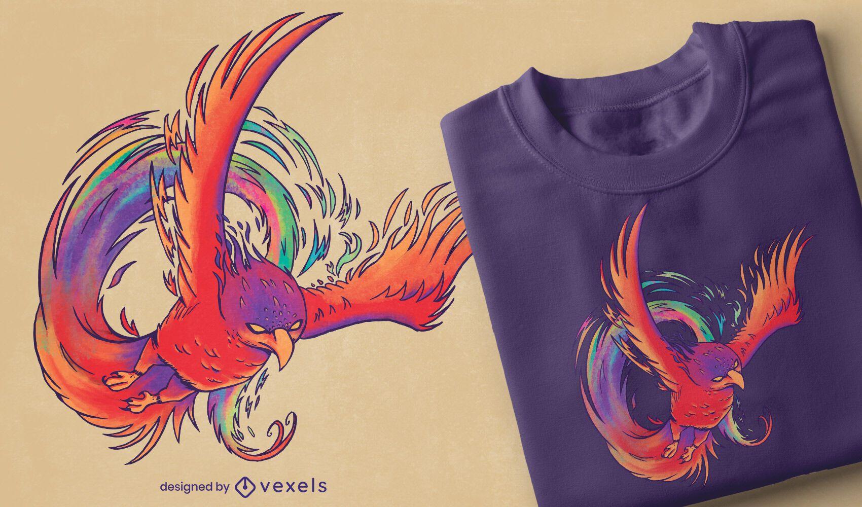 Diseño colorido de camiseta phoenix