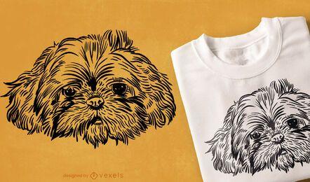 Diseño de camiseta de cara de perro dibujada a mano