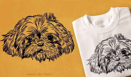 Hand drawn dog face t-shirt design