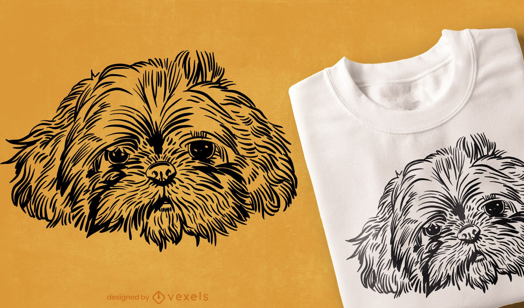Hand drawn dog face t-shirt design