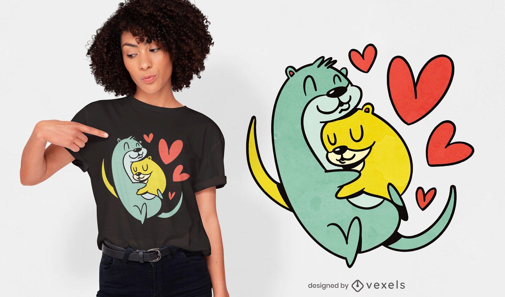 Diseño de camiseta de nutrias abrazos.