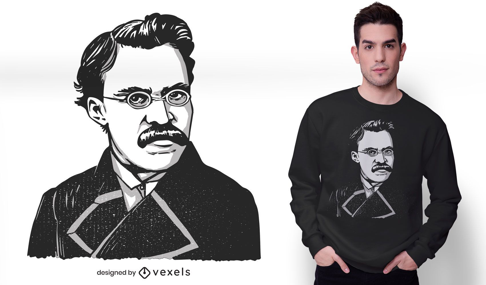 Diseño de camiseta de friedrich nietzsche
