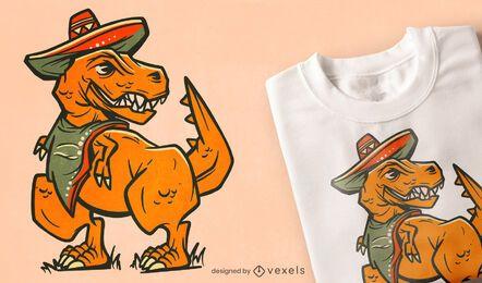 Diseño de camiseta de sombrero mexicano t-rex.