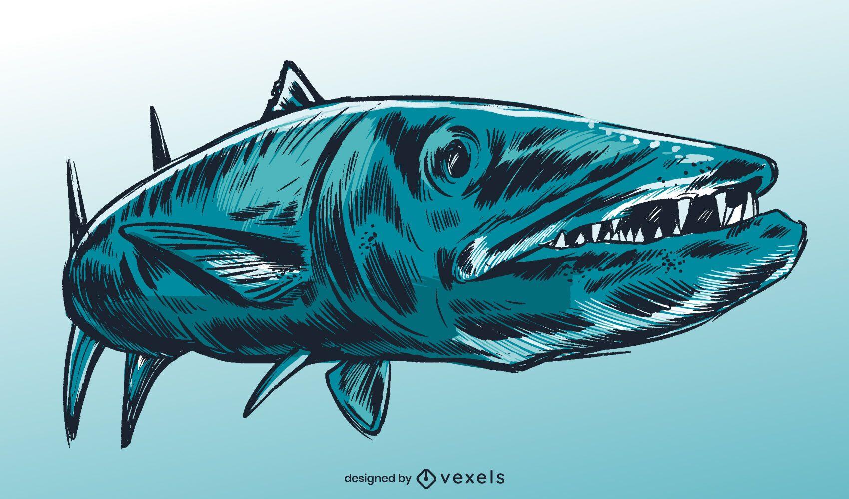 Diseño de ilustración de peces de especies de barracuda