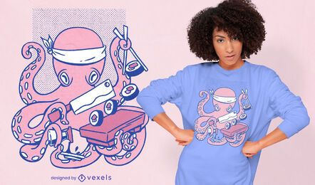 Diseño de camiseta de chef de sushi de pulpo.