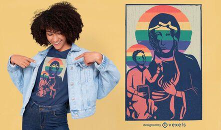 Design de camisetas da Virgem Maria e Jesus