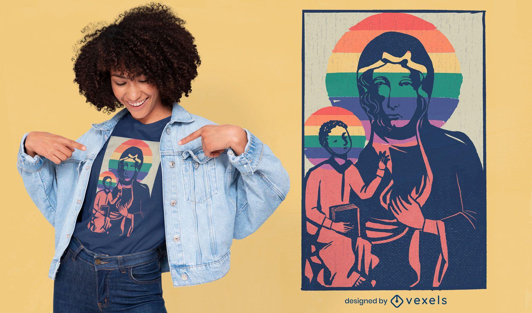 Diseño de camiseta virgen maría y jesús.