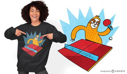 Diseño de camiseta de perezoso de tenis de mesa.
