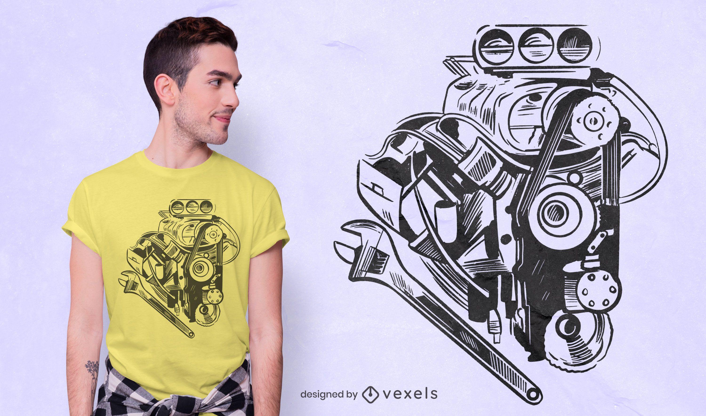 Diseño de camiseta de elemento mecánico de coche.