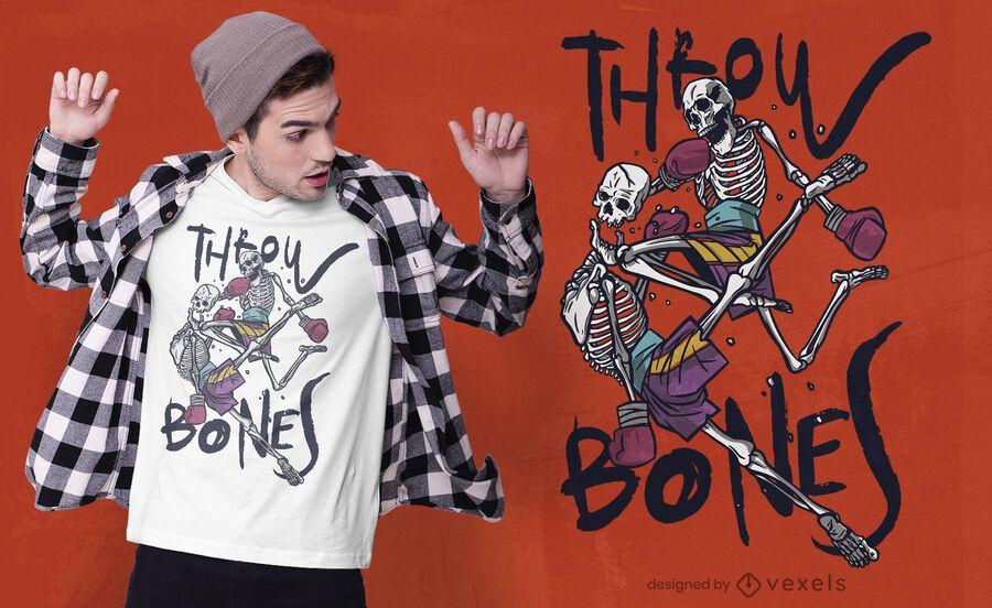 Martial arts skeletons t-shirt design