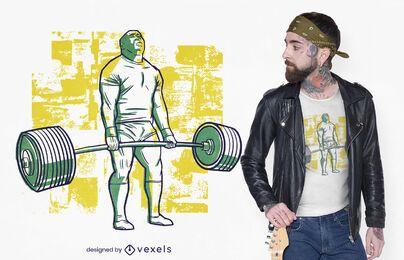 Diseño de camiseta bodybuilder deadlift.