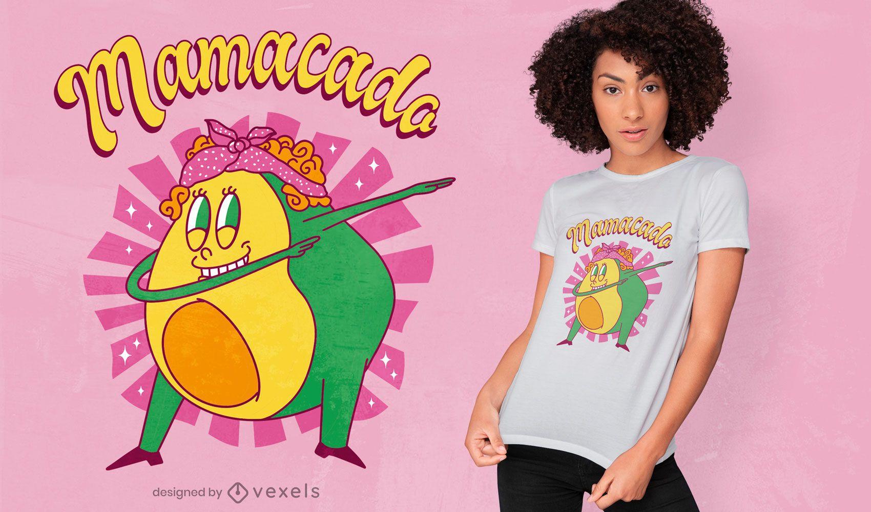 Diseño de camiseta de aguacate mamá dabbing