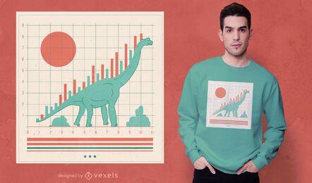 Diseño de camiseta gráfica del mercado de valores de dinosaurios.
