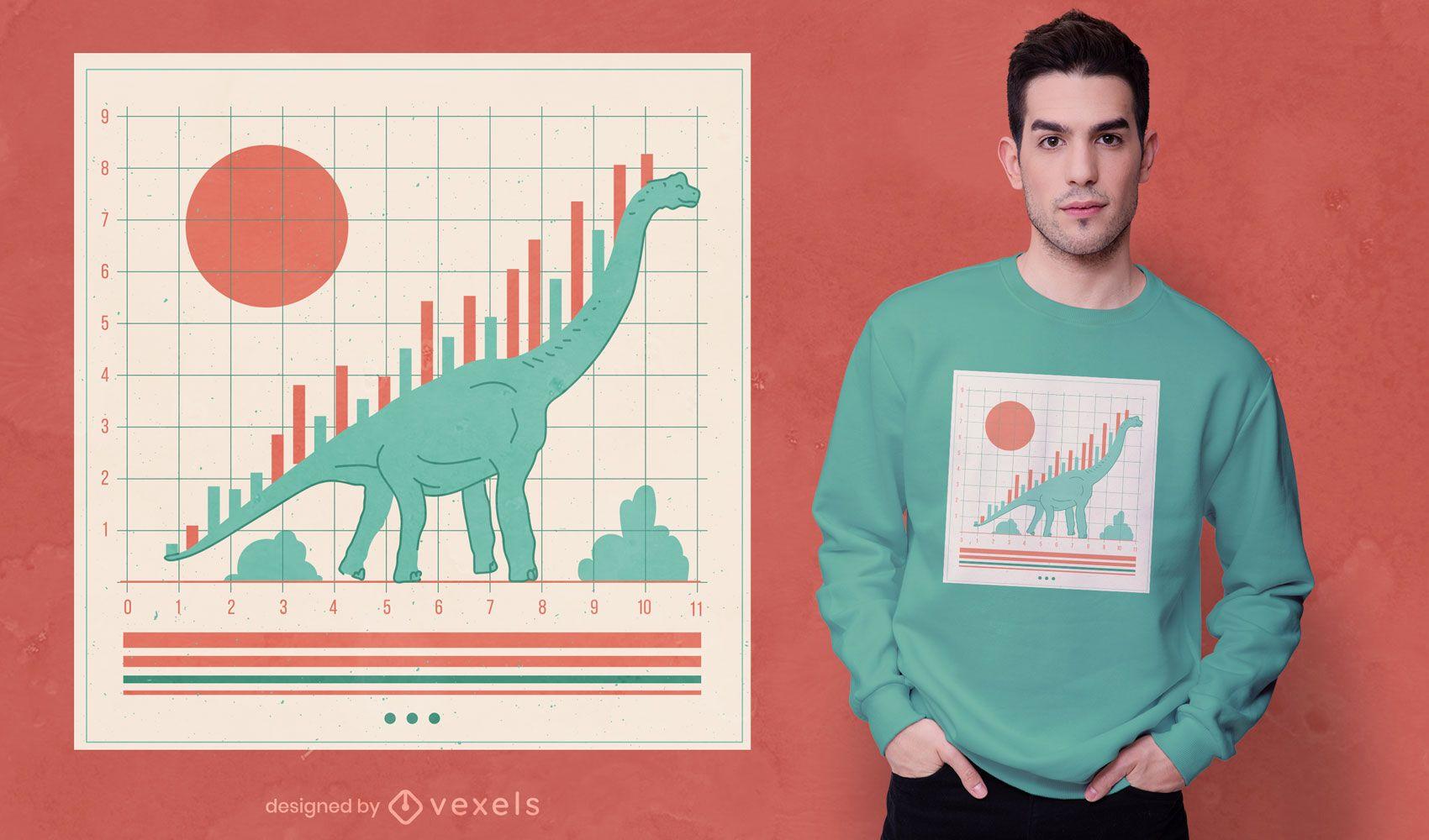 Design gráfico de t-shirt do mercado de ações de dinossauros
