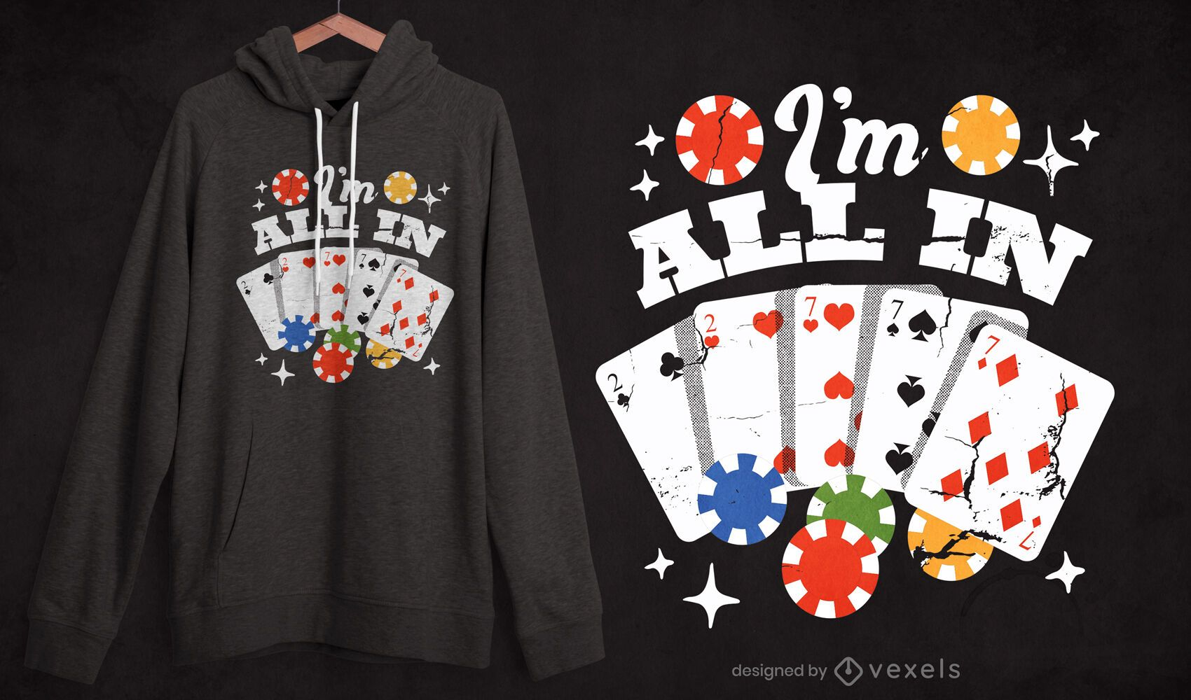 Diseño de camiseta con cita de cartas de póquer