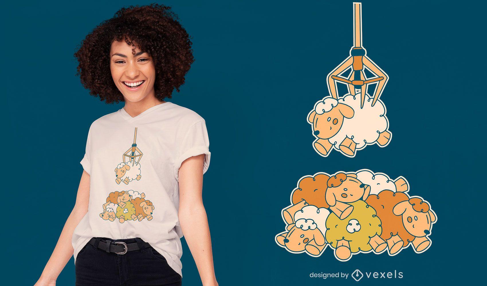 Sheep claw machine t-shirt design