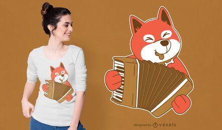 Diseño de camiseta de perro acordeón