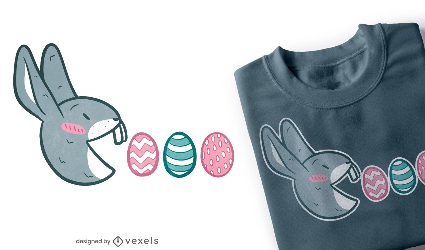 Diseño de camiseta pac man bunny