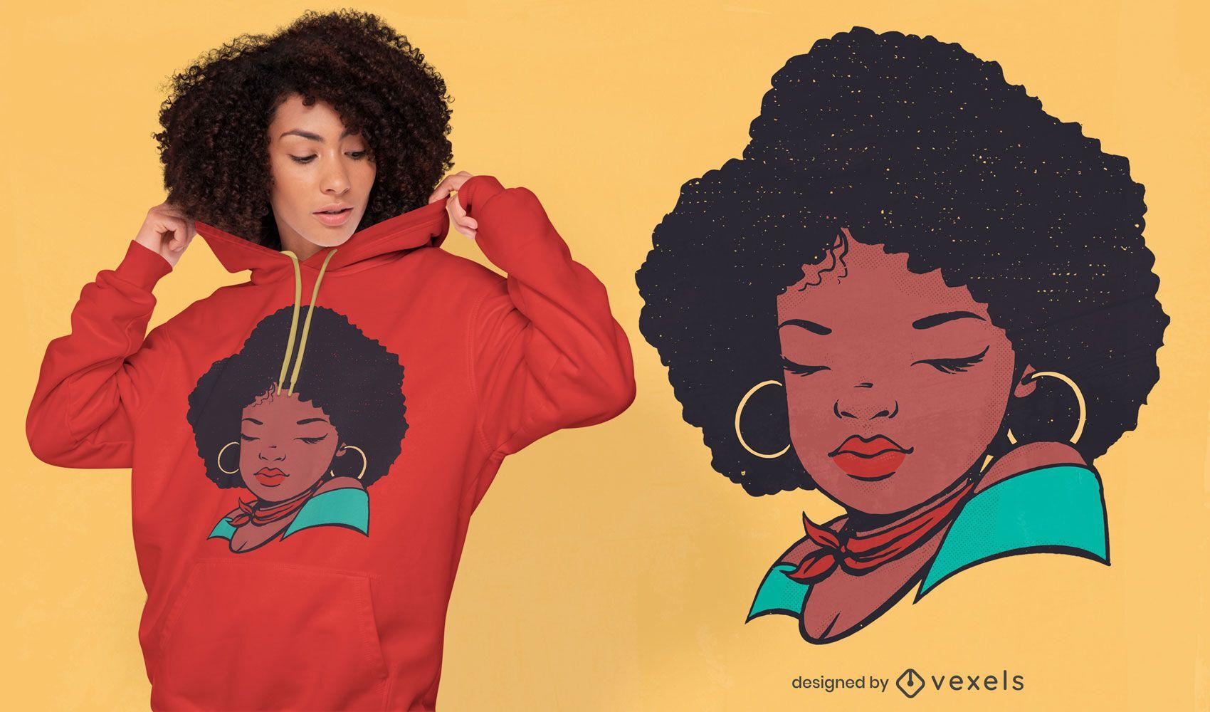 Diseño de camiseta mujer afro